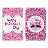 Molde do cartão do dia do Valentim Invita indiano romântico laçado do estilo Fotos de Stock Royalty Free