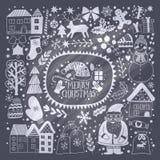Molde do cartão do Natal, Feliz Natal do vetor Projeto do feriado de inverno, projeto da grinalda do quadro feito de garatujas cr Imagem de Stock Royalty Free