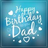 Molde do cartão do paizinho do vetor da tipografia feliz aniversário Fotos de Stock