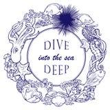 Molde do cartão do quadro do esboço do recife de corais Fotografia de Stock Royalty Free
