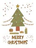 Molde do cartão do Feliz Natal ilustração royalty free
