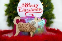 Molde do cartão do Natal no branco Árvore de Natal, placa com texto sobre Fotografia de Stock