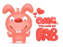 Molde do cartão do Valentim com caráter cor-de-rosa do coelho dos desenhos animados Fotos de Stock