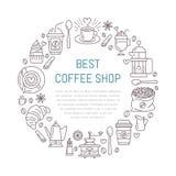 Molde do cartaz da cafetaria Linha ilustração do vetor de equipamento coffeemaking Elementos - copo do café, imprensa do francês Fotos de Stock Royalty Free