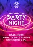 Molde do cartaz da noite da música do dance party da noite Eletro convite do inseto do evento do partido do clube do disco do con ilustração stock