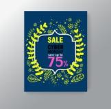 Molde do cartaz da venda da mola com folhas e quadro na ilustração azul do fundo ilustração do vetor