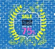 Molde do cartaz da venda da mola com folhas e quadro na ilustração azul do fundo da parede de tijolo ilustração royalty free