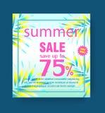 Molde do cartaz da venda do verão com folhas e quadro na ilustração azul do fundo ilustração stock