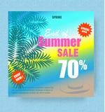 Molde do cartaz da venda do verão com palma e chapéu na ilustração do fundo do mar ilustração royalty free