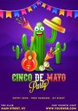 Molde do cartaz de Cinco De Mayo texto e detalhes personalizados para o partido da festa ilustração stock