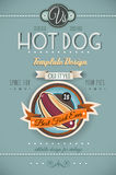 Molde do cartaz do CACHORRO QUENTE do vintage para restaurantes Imagens de Stock Royalty Free