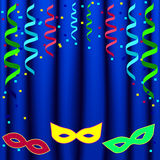 Molde do cartaz do carnaval com máscaras e cortina Fotografia de Stock