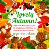 Molde do cartaz do outono com quadro da natureza da queda ilustração royalty free