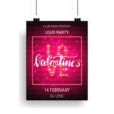 Molde do cartaz do partido do dia de Valentim com rotulação e caligrafia brilhantes Imagens de Stock Royalty Free