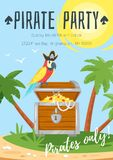 Molde do cartaz do partido da criança do pirata ilustração do vetor
