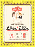 Molde do cartão do convite do casamento dos desenhos animados Fotografia de Stock