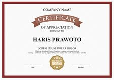 Molde do certificado Apropriado para sua empresa Melhore sua visibilidade Logotipo profissional e eficaz Cor e scal editáveis Fotografia de Stock