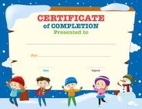 Molde do certificado com as crianças na neve ilustração do vetor