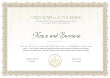 Molde do certificado Diploma do projeto moderno ou da vale-oferta Fotografia de Stock