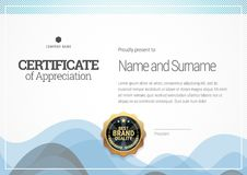 Molde do certificado Diploma do projeto moderno ou da vale-oferta Foto de Stock Royalty Free