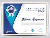 Molde do certificado do vetor, fundo abstrato azul Foto de Stock
