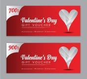 Molde do comprovante de presente do dia de Valentim, vale, desconto, bandeira da venda, disposição horizontal, cartões do descont ilustração do vetor