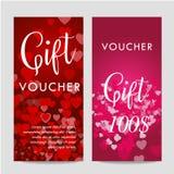 Molde do comprovante do vale-oferta do dia de Valentim No fundo bonito com corações e no espaço para seu texto Fotos de Stock Royalty Free