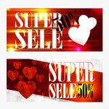 Molde do comprovante do vale-oferta do dia de Valentim No fundo bonito com corações e no espaço para seu texto Foto de Stock Royalty Free