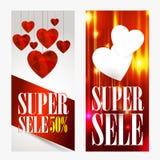 Molde do comprovante do vale-oferta do dia de Valentim No fundo bonito com corações e no espaço para seu texto Imagem de Stock Royalty Free