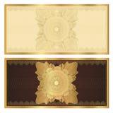 Molde do comprovante (vale-oferta). Teste padrão do ouro Foto de Stock Royalty Free