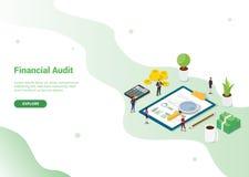 Molde do conceito da auditoria financeira para o molde do Web site ou a bandeira de aterrissagem do homepage - vetor ilustração stock