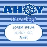 Molde do convite da festa do bebê Ahoy é um projeto de cartão do menino Fotografia de Stock Royalty Free