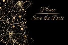 Molde do convite do vetor com mão dourada clássica tony economias escritas da rotulação a data e os pontos de brilho do ouro e Foto de Stock