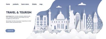 Molde do curso e da página da aterrissagem do turismo Página da web cortado de papel dos marcos Viaja o Web site do mundo, propag ilustração royalty free