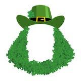 Molde do dia do St Patricks Bandeira da placa do duende chapéu e barba no trevo Feriado da Irlanda Feriado irlandês tradicional ilustração stock