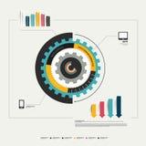 Molde do diagrama da roda da roda denteada do círculo para infographic. Fotografia de Stock