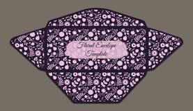 Molde do envelope com teste padrão floral Imagens de Stock