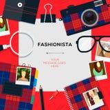 Molde do Fashionista com acessórios ilustração stock