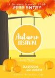 Molde do festival da queda Paisagem colorida brilhante do outono no fundo vertical Molde por feriados, concertos e ilustração do vetor