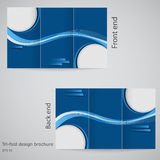 Molde do folheto do negócio de três dobras, inseto incorporado ou projeto da tampa em cores azuis Foto de Stock