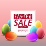 Molde do fundo da bandeira da venda da Páscoa com os ovos coloridos bonitos Foto de Stock