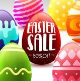 Molde do fundo da bandeira da venda da Páscoa com os ovos coloridos bonitos Fotos de Stock Royalty Free