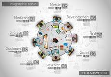 Molde do fundo de Infograph com uma tabela temworking da sessão de reflexão Fotografia de Stock