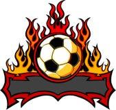 Molde do futebol com imagem das flamas ilustração royalty free