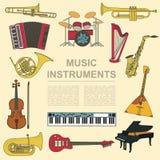 Molde do gráfico dos instrumentos musicais Todos os tipos de instr musical ilustração do vetor
