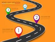 Molde do informação-gráfico do lugar da maneira de estrada com ponteiro do pino Imagens de Stock Royalty Free