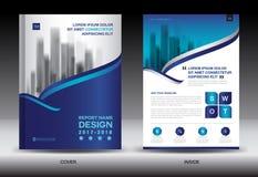 Molde do inseto do folheto do informe anual, projeto azul da tampa Fotografia de Stock Royalty Free