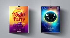 Molde do inseto do partido no fundo do espaço da lua e da galáxia Cartaz do DJ do clube noturno ilustração royalty free