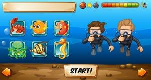 Molde do jogo com mergulhadores e peixes Fotos de Stock Royalty Free