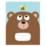 Molde do livro da composição da tampa do caderno Carregue a cabeça grande do urso que olha o inseto da abelha do mel Personagem d ilustração do vetor